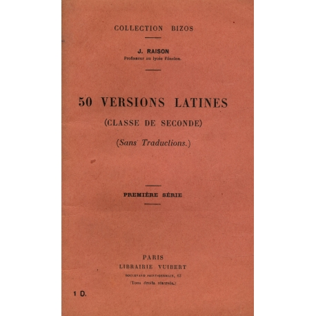 50 versions latines Classe de seconde / 1936 / Raison, J / Réf8822