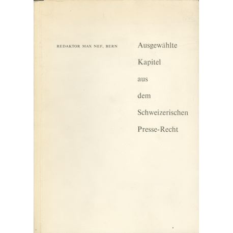 Ausgewählte kapitel aus dem schweizerischen / Max Nef / Réf208